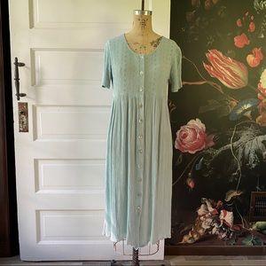 Vintage Light Blue Eyelet Button Down Midi Dress